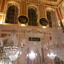 inside the ortokoy mosque in turkey with big shanderlia's