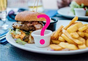 picture of burger and chips with a pink question mark in the middle